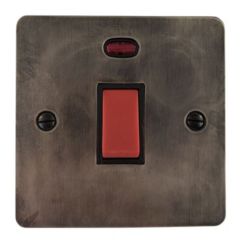 G&H FSL46B Flat Plate Slate 45 Amp DP Cooker Switch & Neon Single Plate